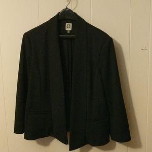 Anne Klein black open front blazer 3/4 sleeves
